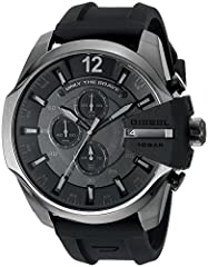 Case size: 59mm; Band size: 26mm; quartz movement with 3-hand analog display, date window, and 3 chronograph subdials; mineral crystal face; imported Gunmetal plated stainless steel case with black accent and cut-out detail; black dial with luminous ...