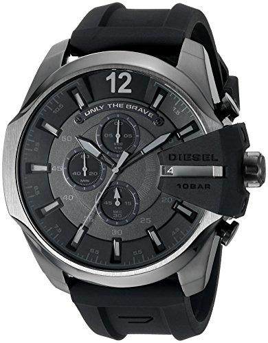 Diesel Men's Mega Chief Quartz Stainless Steel and Silcone Chronograph Watch, Color: Grey, Black (Model: DZ4378)