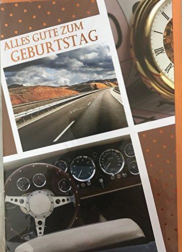 """Geburtstag Geburtstagskarte, Aufklappkarte, Karte mit Umschlag, Spruchkarte \""""ALLES GUTE ZUM GEBURTSTAG\"""" Autobahn Lenkrad Uhr Auto Cockpit"""