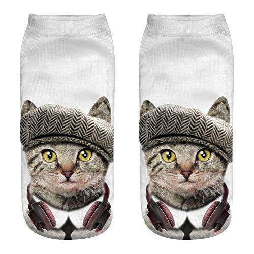 AIni Unisex Lustige 3D Katze Druck Casual Socken Niedliche Söckchen Kurzsocken