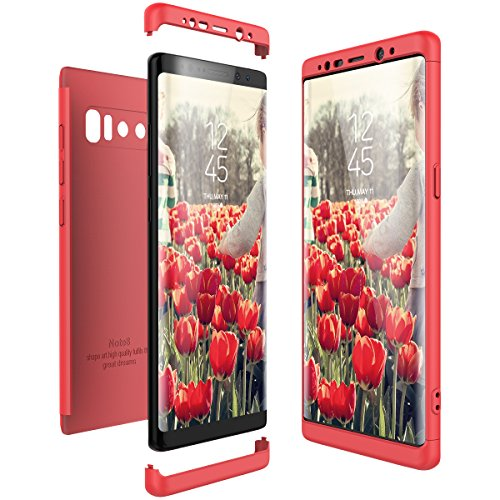 CE-Link Funda Samsung Galaxy Note 8, Carcasa Fundas para Samsung Galaxy Note 8, 3 en 1 Desmontable Ultra-Delgado Anti-Arañazos Case Protectora - Rojo/Red