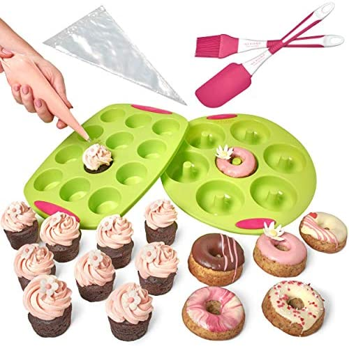 Mariana Cakes Designer Non Stick Silicone Donut Pan and Cupcake Pan with Handles Baking Set product image