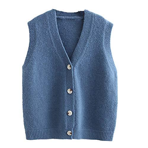 Chaleco de punto sin mangas para mujer corto cuello en V suéter chaleco