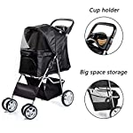 Display4top Pet Travel Stroller Dog Cat Pushchair Pram Jogger Buggy With 4 Wheels (Black) 13