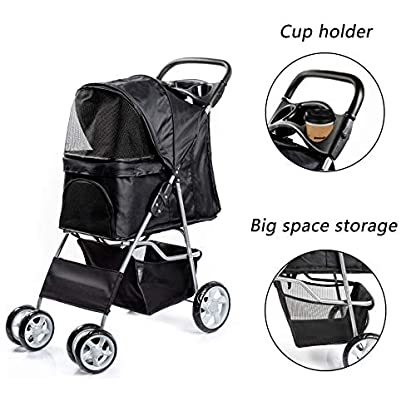 Display4top Pet Travel Stroller Dog Cat Pushchair Pram Jogger Buggy With 4 Wheels (Black) 5