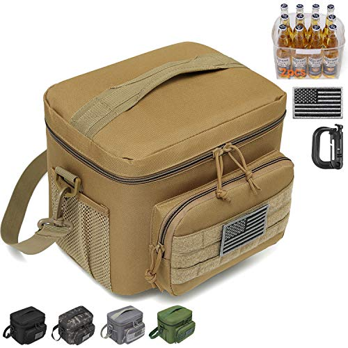 DBTAC Tactical Lunch Bag, Large Insulated Lunch Box for Men Women Adult   Durable School Lunch Pail for Kids   Leakproof Lunch Cooler Tote for Work Office Travel   Soft Easy-Clean Liner x2, Tan