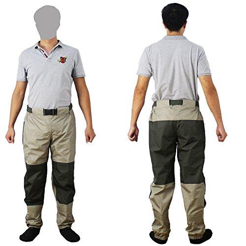 Kylebooker Pesca con Mosca Pantalones de Vadeador Rope de Pesca Cintura Impermeable Transpirable Waders con Calcetines KB003