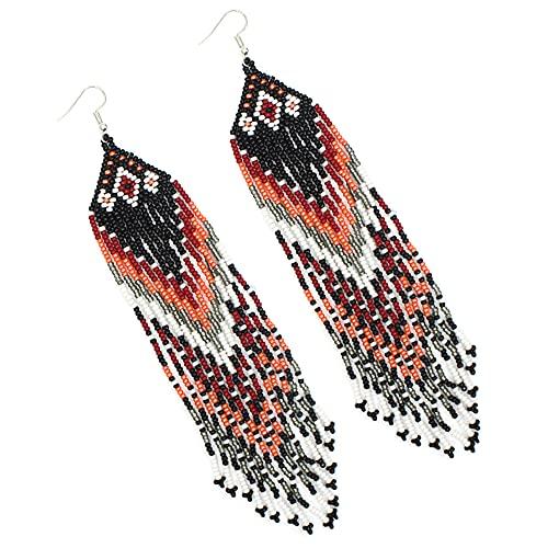 Handmade beaded Native style Black Red Peach Long Hook Earrings [E-61-SB-5]
