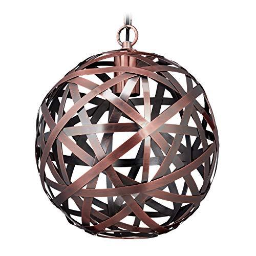 Relaxdays Hanglamp, Sphere lampenkap, Industrial, E27 stopcontact, woon- en slaapkamer, hanglamp, Ø 29 cm, koper