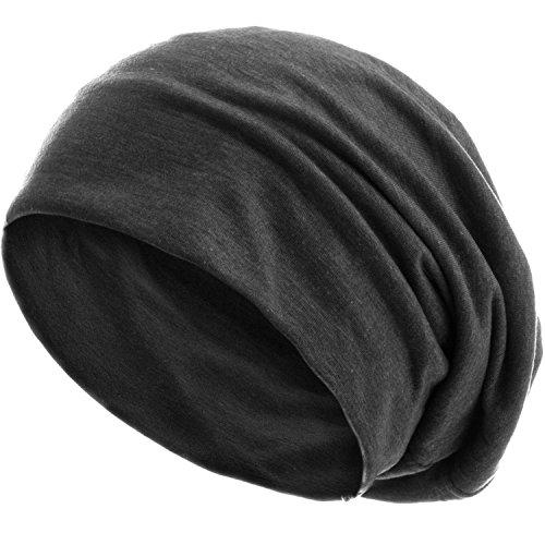 style3 Slouch Beanie aus atmungsaktivem, feinem und leichten Jersey Unisex Mütze Haube Bini Einheitsgröße, Farbe:Anthrazit