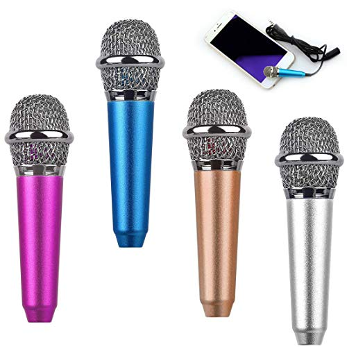 4 PCS Mini Microphone Portable Vocal/Instrument Microphone For Mobile Phone Laptop With Holder Clip (Golden, Pink, Silver, Blue)