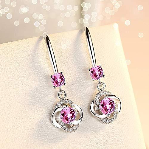 Pendientes largos Mujer Plata de Ley 925,aretes largos de mujer, pendientes niña largos colgantes forma de gota, Zirconia color Rosa, incluida caja regalo