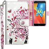 CLM-Tech kompatibel mit Motorola Moto E4 Plus Hülle, Tasche aus Kunstleder, Baum Katze Schmetterling rosa weiß, PU Leder-Tasche für Moto E4 Plus Lederhülle