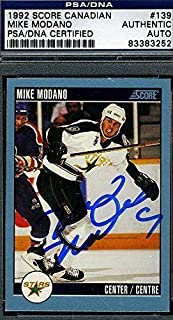 Mike Modano Signed Certed 1992 Score Autograph - PSA/DNA Certified - Hockey Slabbed Autographed Cards