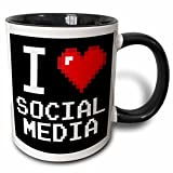 3dRose Geeky Old School Pixels 8-Bit I Heart I Love Social Media Two Tone Mug, 11 oz, Black/White