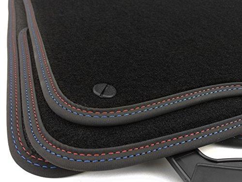 kh Teile 20012 Fußmatten (Premium Velour) Doppelnaht M3 Edition Rot/Blau, Automatten Set 4-teilig