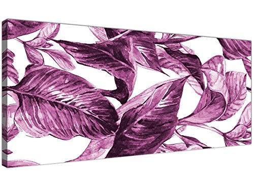 Plum melanzana bianco Tropical leaves canvas Wall Art – moderno largo 120 cm – 1319 Wallfillers