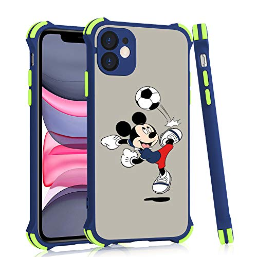 DISNEY COLLECTION Shockproof iPhone 11 Case, Mickey [Military Grade Drop Test] Translucent Matte Hard PC Back Silicone TPU Bumper Protective Slim Fit Case for iPhone 11 6.1 Inch 2019(Blue)