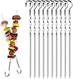 Goysen 10 Pack Kebab Skewers Stainless Steel BBQ Grilling Skewers Flat Grilling Sticks with Protective Cap Ideal for Shish Kebab Chicken Shrimp and Vegetables (15 inch)