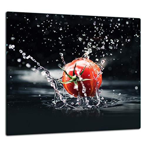 TMK I Crédence de cuisine en verre trempé 65 x 60 cm – Verre décoratif avec bande adhésive – Plaque arrière en verre pour cuisine, tomate noir