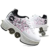 Fbestxie 2 En 1 Doble Fila Multiusos Skate Patines Zapatillas para Principiantes Caminando Botas Ajustables para Zapatos De Cuatro Ruedas,38