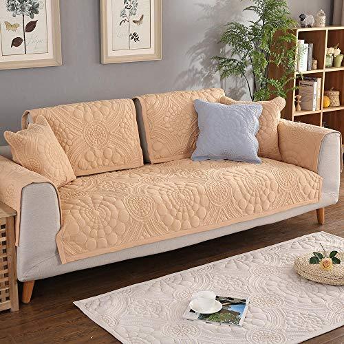 Homeen Sofa Cover,Couch Coat,Funda de sofá de algodón de 1/2/3/4/5 plazas,Funda de sofá seccional con Bordado de Flores,Fundas de Muebles de Tela de Alta Gama para sofás-Beige_El 110 * 180cm