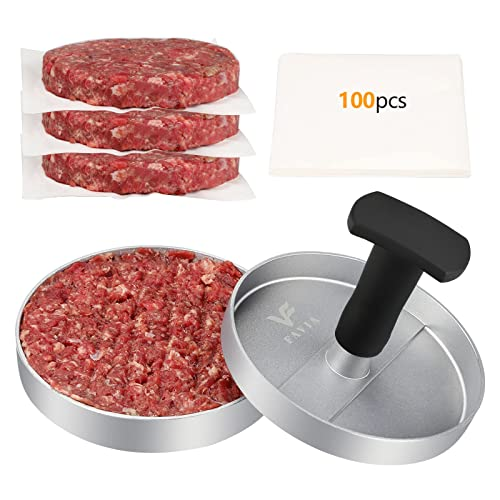 FAVIA Burger Press 100 Patty Papers Set I Non-Stick Hamburger Patty Maker Mold Ring for Beef Veggie Burger BBQ Barbecue Grill BPA Free Dishwasher Safe