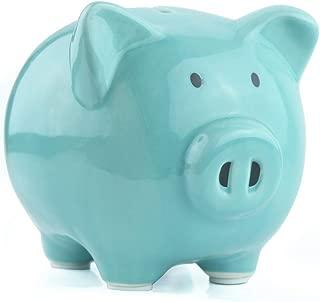 KOHIENWO Piggy Bank Classic Cute Ceramic Coin Money Piggy Bank, Mini & Small Makes a Perfect Unique Gift, Nursery Décor, Christmas Keepsake, Or Savings Piggy Bank for Kids Adult (Blue)