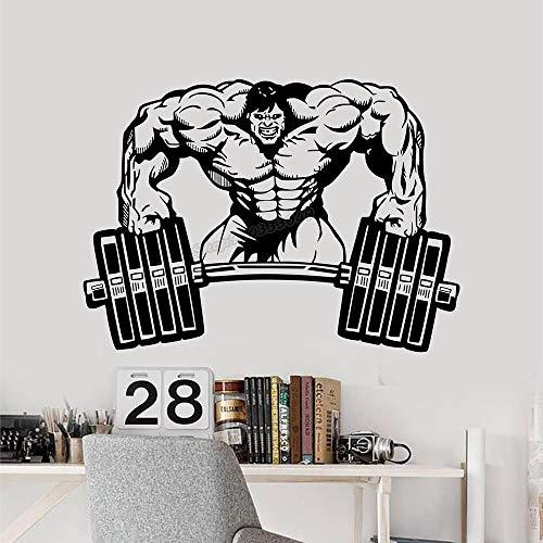 Calcomanías de pared inspiradoras de gimnasio macho verde entrenamiento de levantamiento de pesas pegatinas de pared para gimnasio decoración de sala de deportes decoración de campana de hervidor