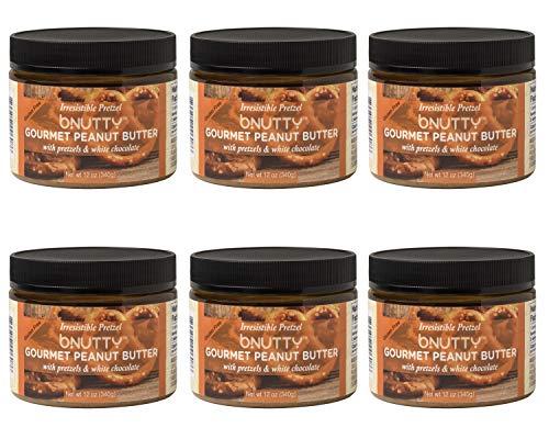 BNutty Irresistible Pretzel Gourmet Peanut Butter - Gluten Free - Natural Peanut Butter - Made in USA - 12oz Jars - 6 Pack