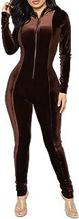 Sorrica Womens Velvet Zipper Front Long Sleeve Bodycon Pants Jumpsuits Rompers