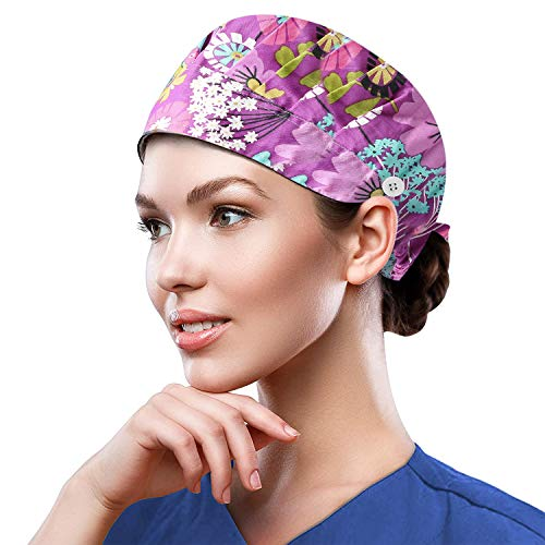 Working Cap for Women Men, One Size Printed Head Caps,Colorful Work Hat with Sweatband & Adjustable Button,Girl Skull Hats-KWHat-5
