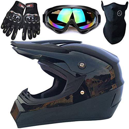 Casco de motocicleta para niños con guantes máscara,Conjunto casco MTB cara completa para adultos,Casco Motocross unisex para Quad Bikes BMX Bicicleta MTB ATV,Aprobado por DOT y ECE,Negro brillante