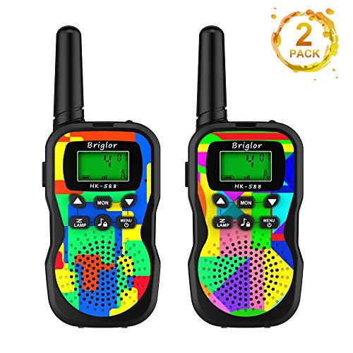 Yueetc Kids Walkie Talkies, 22 Channels 2 Way Radio Toy with Flashlight and LCD Screen, 3 Miles Range Walkie Talkies for Kids Girls Boys Toy Outdoor Adventure Camping Hiking (Rainbow)