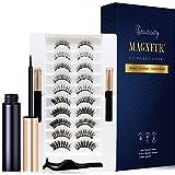 Beautivity Upgraded 10 Pairs Magnetic Eyelashes Kit with Double Eyeliner, Reusable 3D Magnetic Eyelashes Kit with Tweezers Inside, No Glue Needed