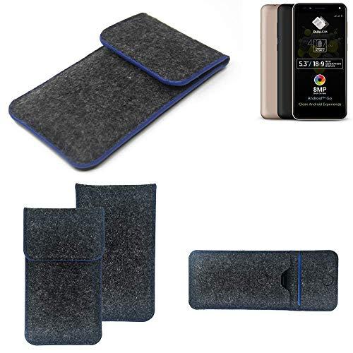 K-S-Trade Filz Schutz Hülle Für Allview A9 Plus Schutzhülle Filztasche Pouch Tasche Hülle Sleeve Handyhülle Filzhülle Dunkelgrau, Blauer Rand