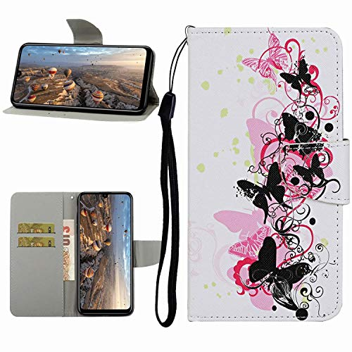 Miagon Hülle für Samsung Galaxy A21,Handyhülle PU Leder Brieftasche Schutz Flip Case Wallet Cover Klapphüllen Tasche Etui mit Kartenfächern Stand,Schwarz Schmetterling