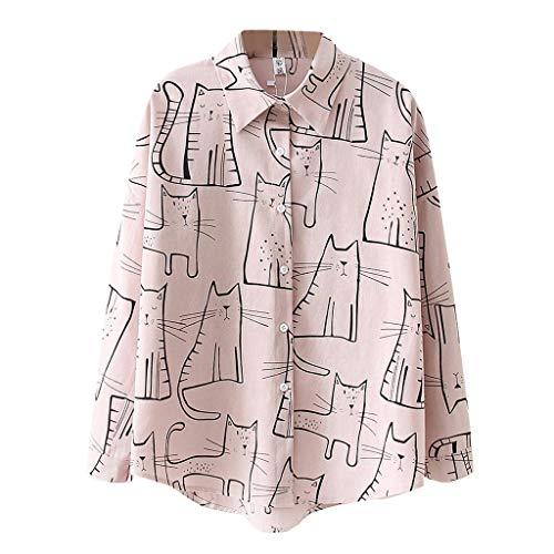 Fossen Blusas para Mujer Verano Otoño 2019 Elegantes - Versión Coreana Camisa Suelta con Estampado de Gato Manga Larga - Camisas Originales para Oficina, Fiesta, Ocio, Vacaciones