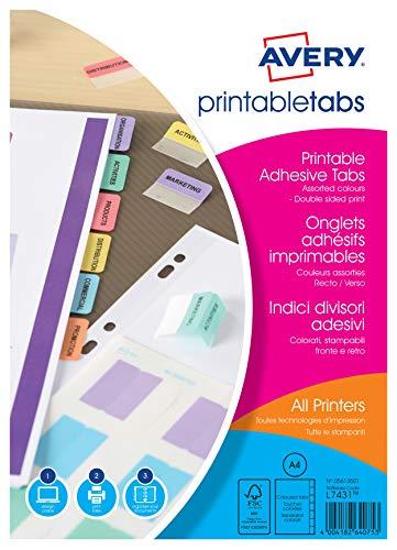 AVERY Zweckform 5412501 selbstklebende Register Taben (farbig sortiert, 96 bedruckbare Taben, auch handbeschriftbar, zur Markierung wichtiger Seiten, für alle Drucker geeignet)