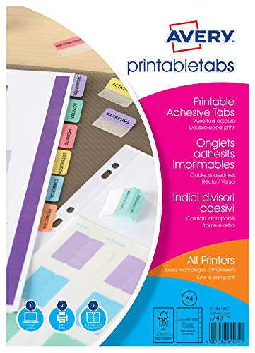 Avery 05412501 Double Sided Printable Adhesive Divider Tabs, 96 Tabs Per Pack Multicoloured