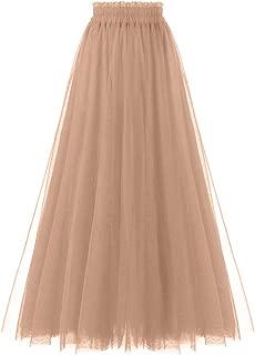 OBBUE Women's A Line Tulle Party Evening Tutu Skirts Tea Length