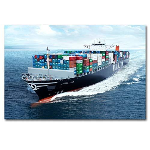 QAZEDC Dekorative Malerei Tanker Schiff Boot Container Frachter Ozean wandkunst Poster leinwand kunstdrucke Kunst gemälde für Wohnzimmer dekor