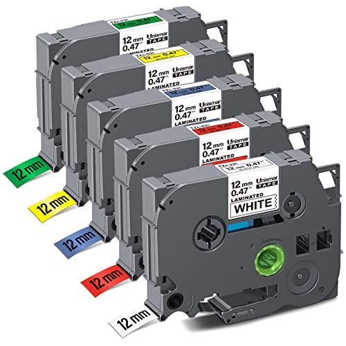 "Unismar Compatible Label Tape Replacement for Brother TZe231 TZe431 TZe531 TZe631 TZe731 Tz 12mm 0.47 Laminated Tape for PTD200 PTD210 PTD600 PTD400 PTH100 PTH110 Labeller, 1/2"" x 26.2', 5-Pack"