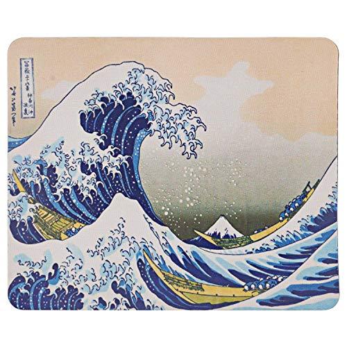 TRIXES - Tappetino per mouse per computer desktop - La grande ondata di Kanagawa - Art Hokusai Design 8.5  x 7  - Base in gomma antiscivolo - Adatto per laser e mouse ottico