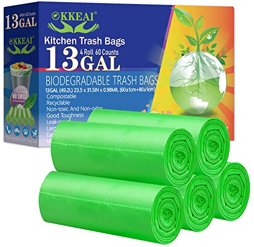 OKKEAI Biodegradable Trash Bags 13 Gallon/49.2 Liter,0.98 Mil Thicken Tall Kitchen Garbags Recycling Trash Bags for Lawn Kitchen,Home,Office,Garden,Patio,Green,60 Counts