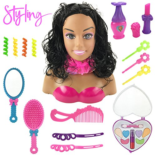 Liberty Imports African American Black Styling Doll Head Girls Playset with Beauty and Fashion Accessories