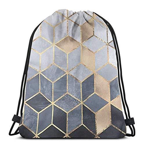 N / A Unisex Drawstring Bags,Soft Blue Gradient Cubes Waterproof Foldable Sport Sackpack Gym Bag Sack Drawstring Backpack