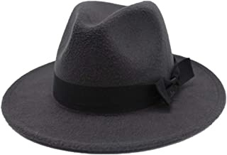 2019 Mens Womens Hats Womens Winter Wool Polyester Fedora Hat for Women Lady with Cloth Belt Wide Brim Church Hat Wool Trilby Jazz Hat Fascinator Hat (Color : Dark Gray, Size : 56-58)
