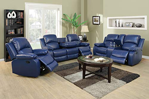 Ainehome Recliner Sofa Set Bonded Leather 3 PCS Motion Sofa Loveseat Recliner Couch Manual Reclining Chair with Drop Down Table for Living Room (Blue,3 Piece Set)