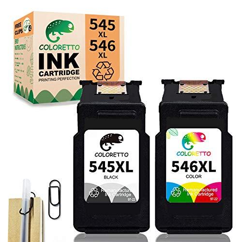 COLORETTO Remanufacturado Cartuchos de Tinta Reemplazo para que Canon Pg-545XL Cl-546XL (1 negro, 1 color) se use con MG2555S iP2850 MG2450 MG2550 MG2950(La Edición Especial Incluye 1 Clip para Pluma)